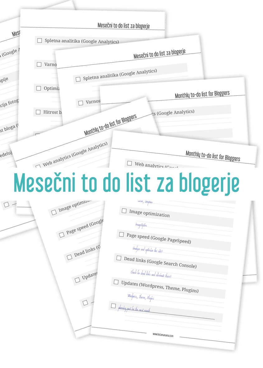 Mesečni to do list za blogerje