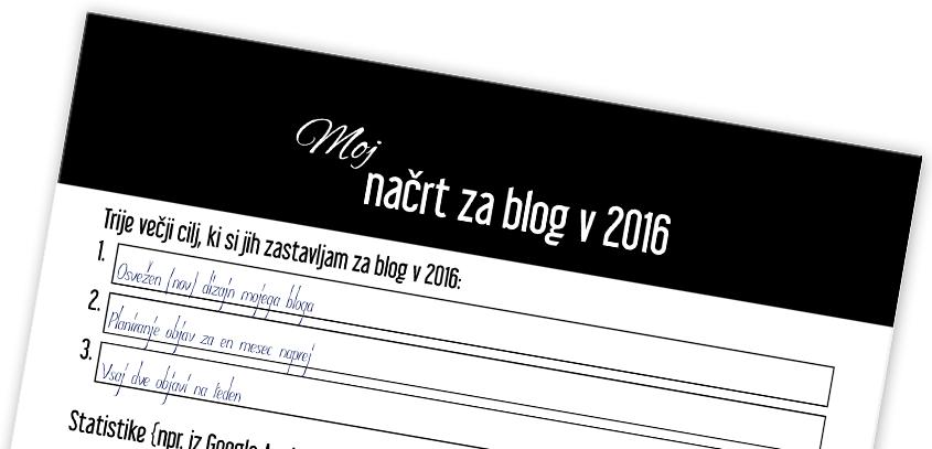 Moj načrt za blog v 2016