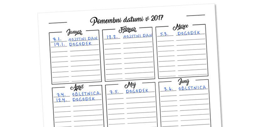 Freebie: Important Dates To Remember In 2017