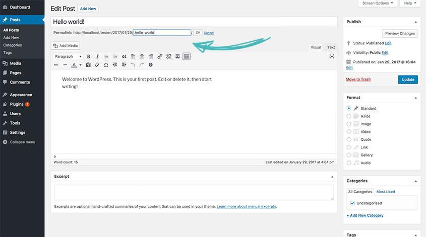 how to change wordpress url
