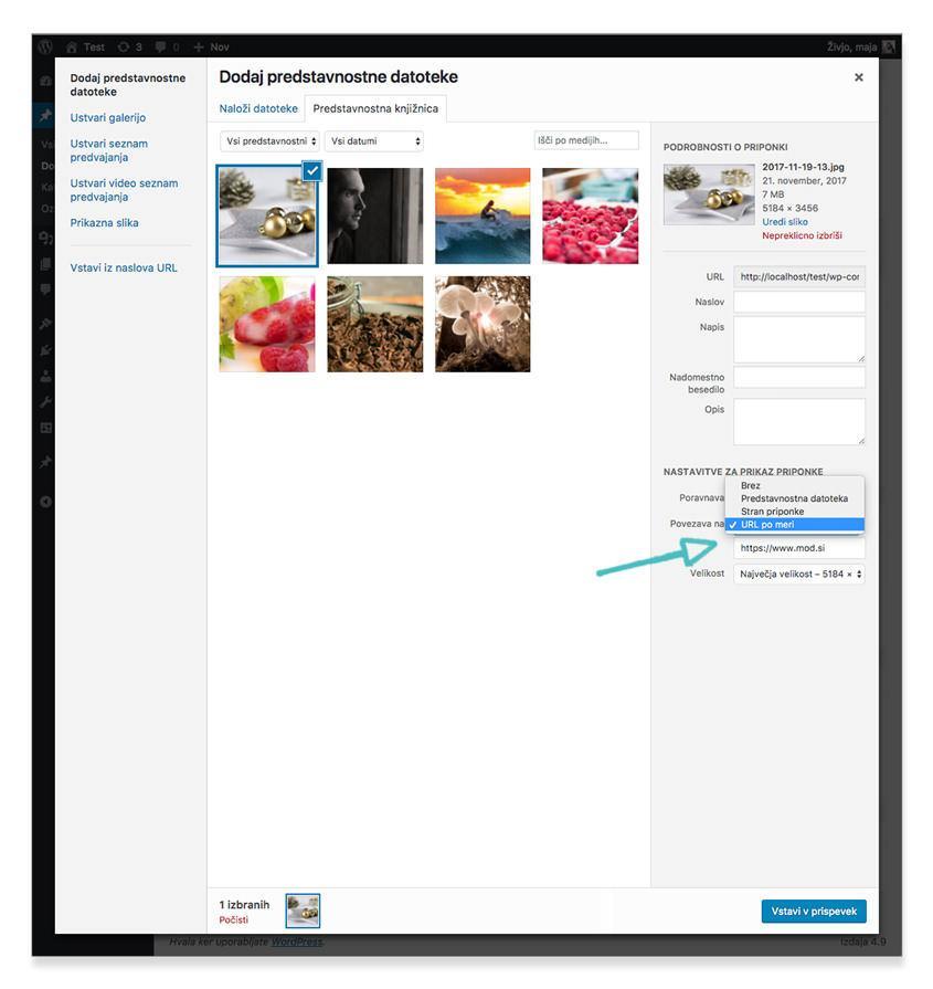 Dodajanje povezave na sliko  - WordPress nasvet