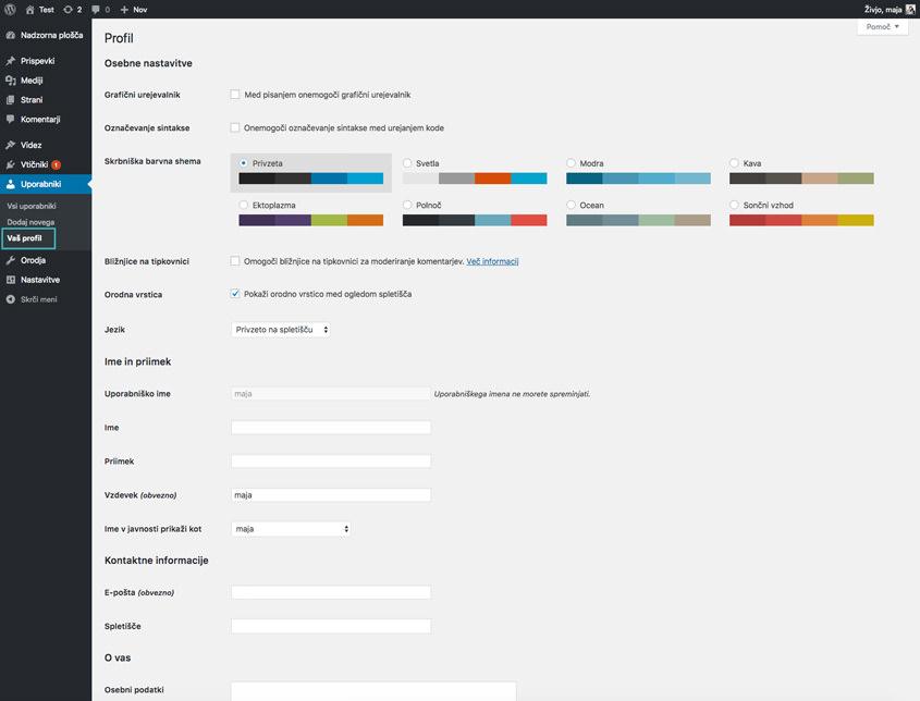 Uredi profil – WordPress nasvet