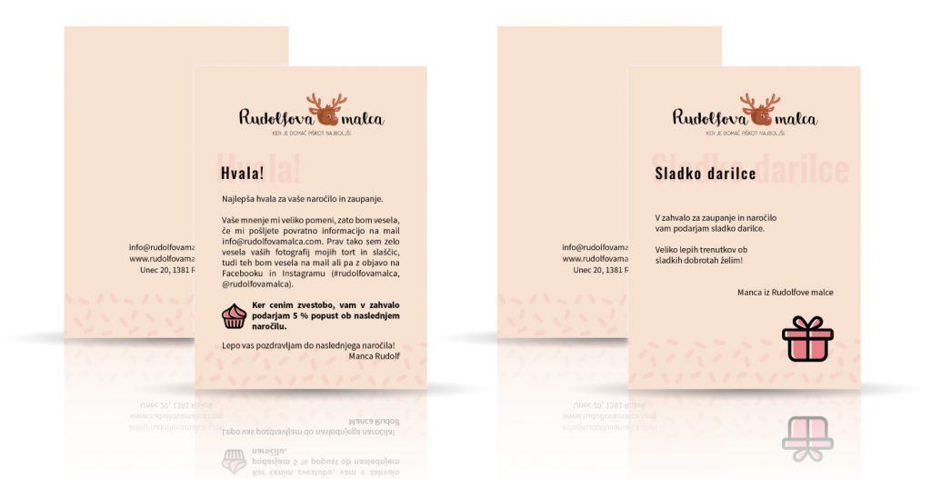 Rudolfova malca - oblikovanje kartončkovza stranke.