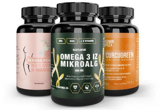 Oblikovanje etiket za: Omega 3 iz mikroalg, Naravna D-Manoza, Curcugreen